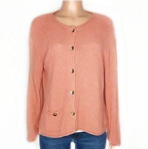 J. Jill Peach Knitted Oversized Button Cardigan